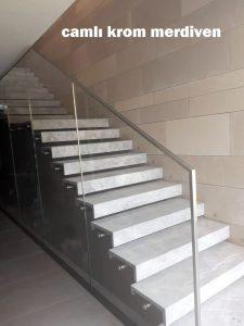 Urla camlı merdiven krom korkuluk