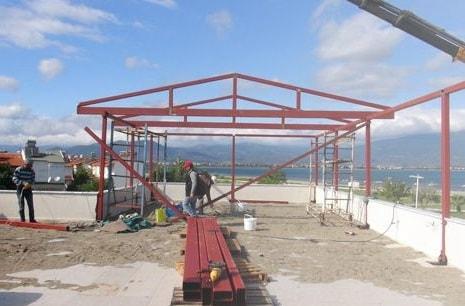 Urla kış bahçesi demir çatı