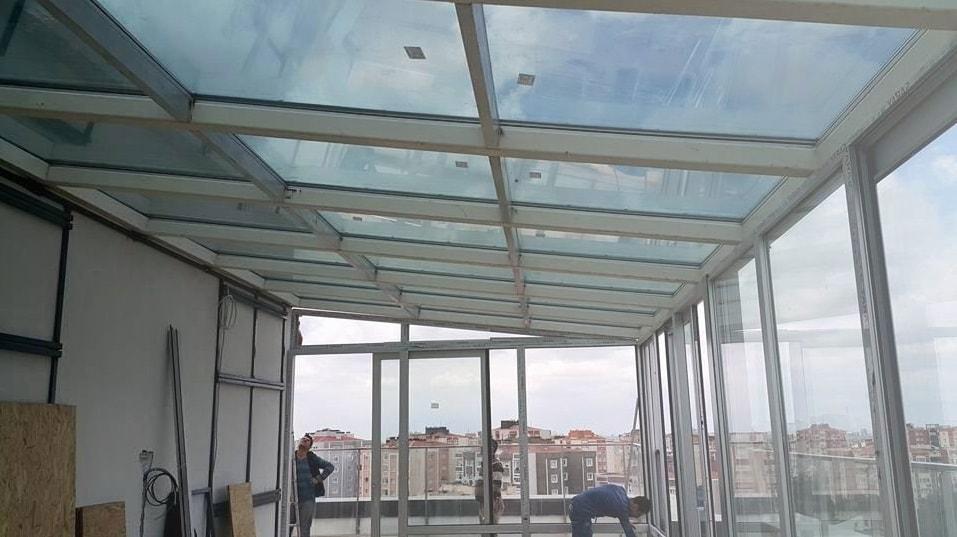 cam çatı teras kapama bornova