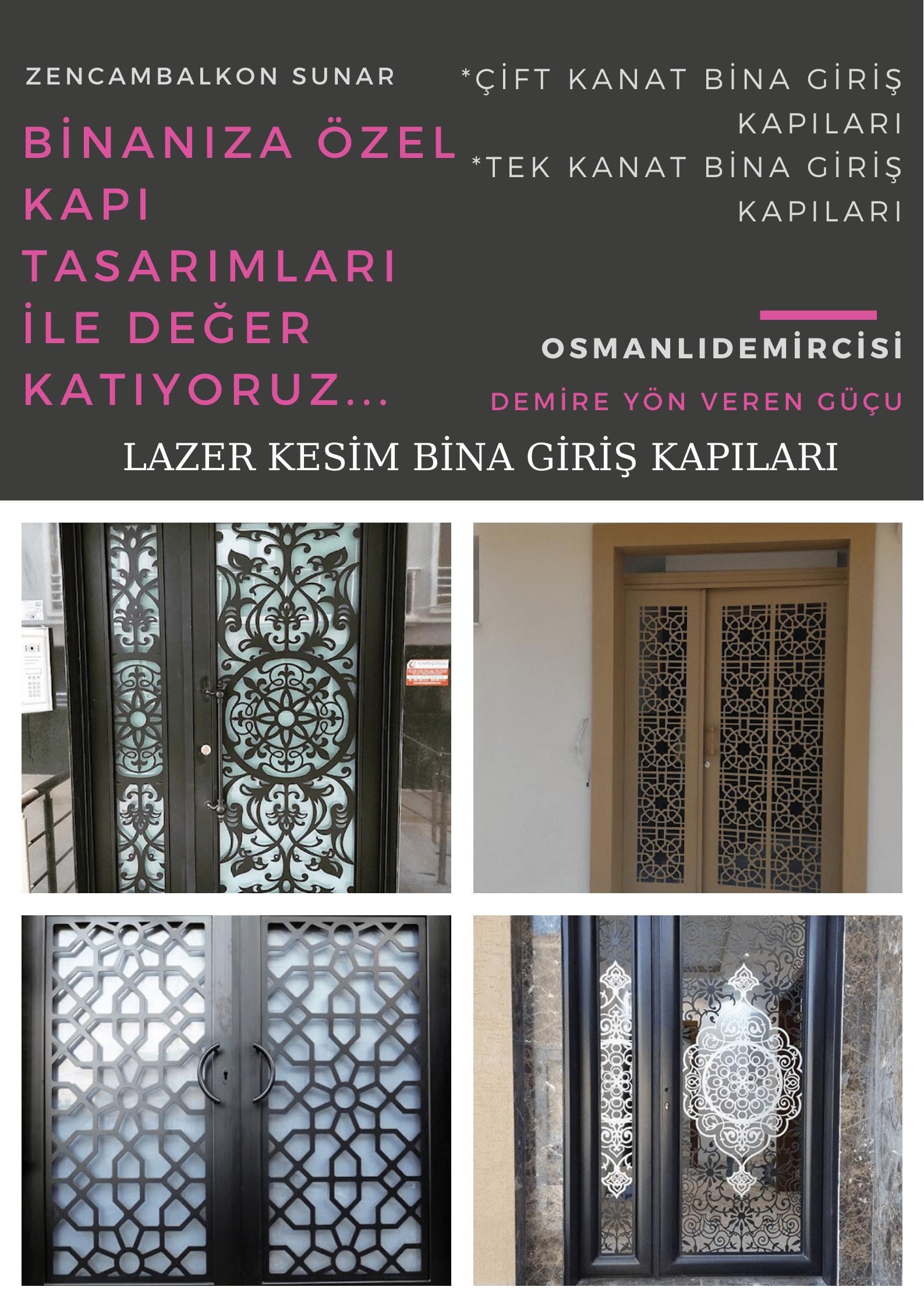 Lazer kesim bina giriş kapısı İzmir