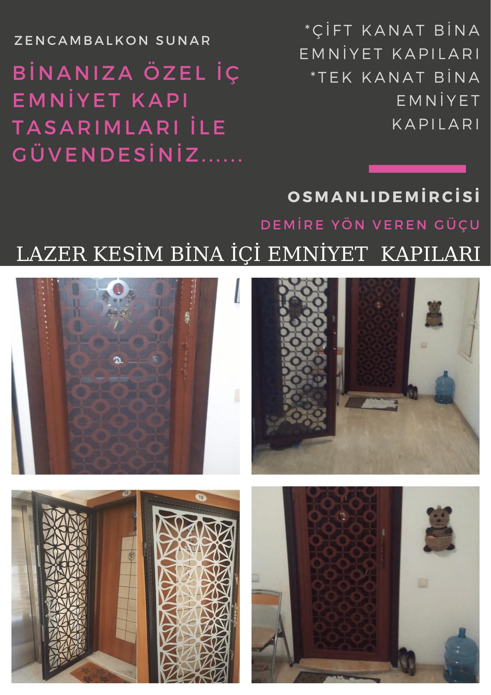 Lazer kesim bina iç emniyet kapısı İzmir