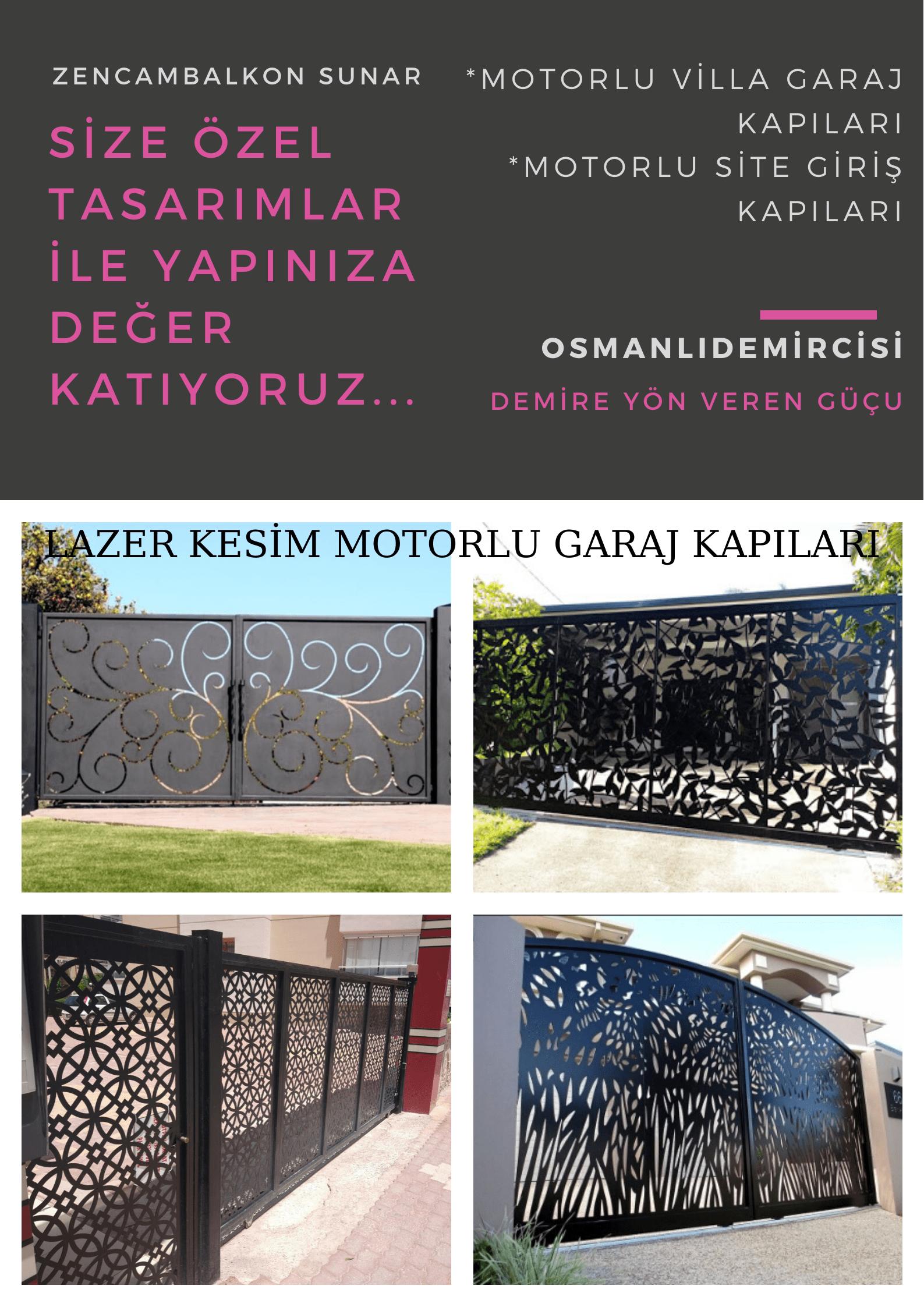 Lazer kesim motorlu villa garaj kapısı İzmir