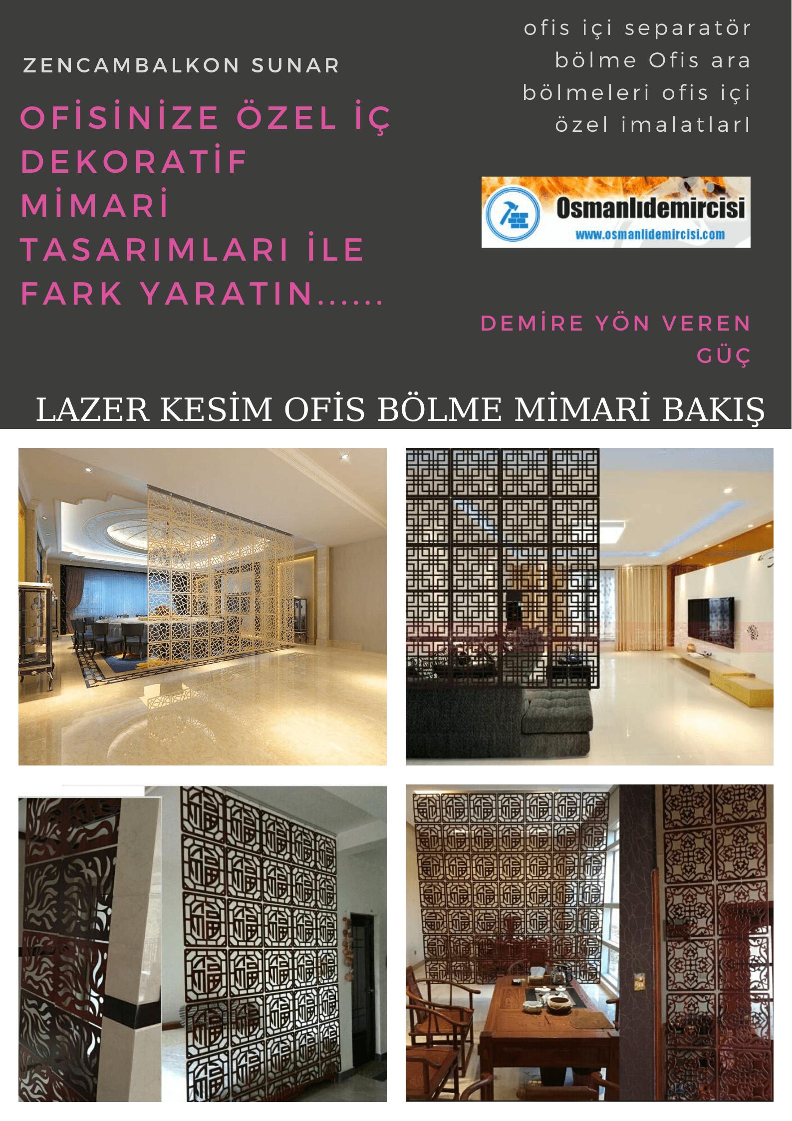 Lazer kesim ofis bölme sistemleri İzmir